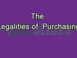 The Legalities of  Purchasing