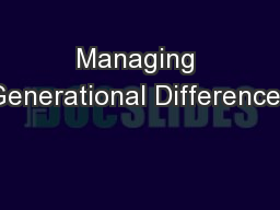 Managing Generational Differences