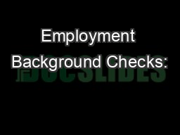 Employment Background Checks: