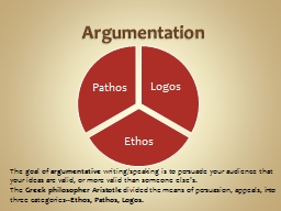 Argumentation The goal of PowerPoint PPT Presentation