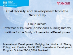 Civil Society and Development from the Ground Up