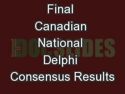 Final Canadian National Delphi Consensus Results