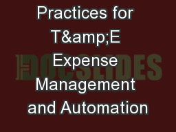 Industry Best Practices for T&E Expense Management and Automation