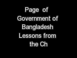 Page  of  Government of Bangladesh Lessons from the Ch