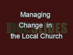 Managing Change  in the Local Church