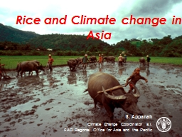 Rice and Climate change in Asia