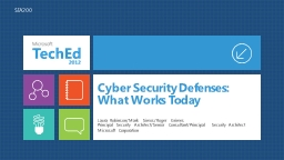 Cyber Security Defenses:  What Works Today