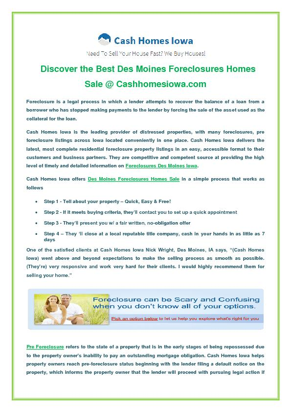 Des Moines Foreclosures Homes Sale