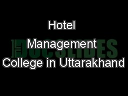Hotel Management College in Uttarakhand