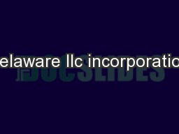 Delaware llc incorporation