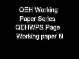 QEH Working Paper Series  QEHWPS Page  Working paper N