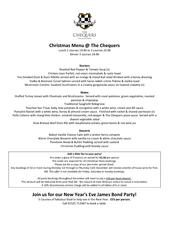 Christmas Menu  The Chequers Lunch  courses