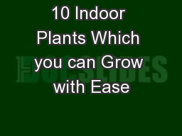 10 Indoor Plants Which you can Grow with Ease PowerPoint PPT Presentation