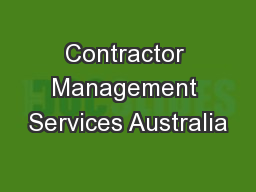 Contractor Management Services Australia