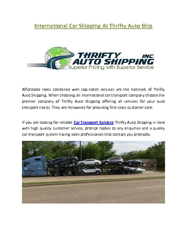 International Car Shipping At Thrifty Auto Ship