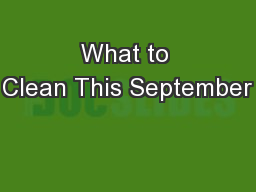 What to Clean This September