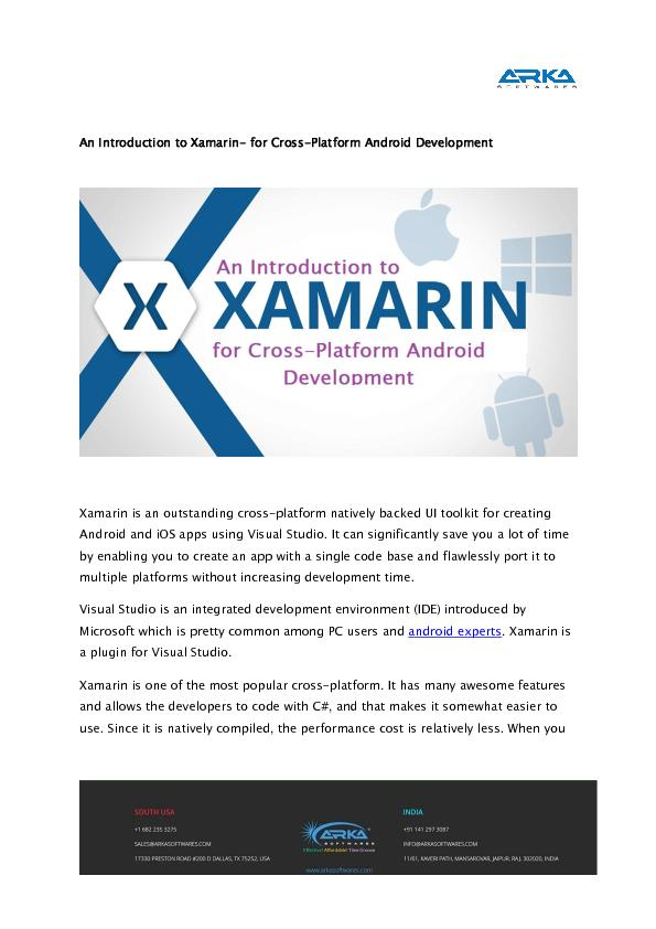 An Introduction to Xamarin- for Cross-Platform Android Development