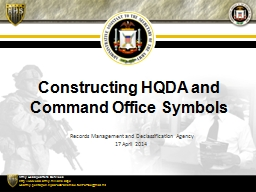 Constructing HQDA and Command Office Symbols