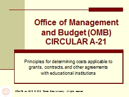 Office of Management and Budget (OMB) CIRCULAR A-21