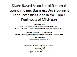 Stage-Based Mapping of Regional Economic and Business Development Resources and Gaps in the Upper P