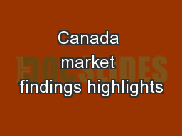 Canada market findings highlights
