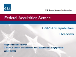 GSA/FAS Capabilities   Overview
