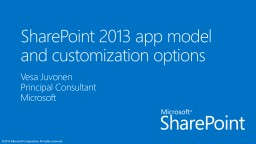 SharePoint 2013 app model and customization options