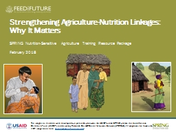 Strengthening Agriculture-Nutrition Linkages: