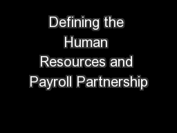 Defining the Human Resources and Payroll Partnership