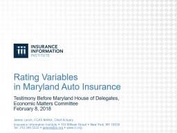 Rating Variables in Maryland Auto Insurance