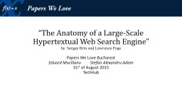""" The Anatomy of a Large-Scale Hypertextual"