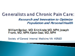 Generalists and Chronic Pain Care: