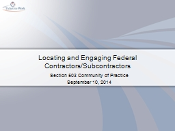 Locating and Engaging Federal Contractors/Subcontractors