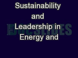 Sustainability and Leadership in Energy and
