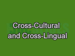 Cross-Cultural and Cross-Lingual