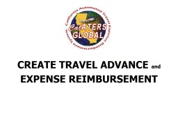 CREATE  TRAVEL ADVANCE  and