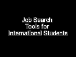 Job Search Tools for International Students PowerPoint PPT Presentation