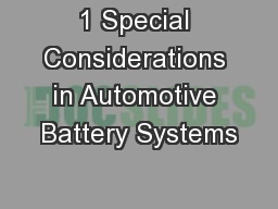 1 Special Considerations in Automotive Battery Systems