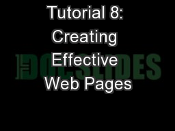 Tutorial 8: Creating Effective Web Pages