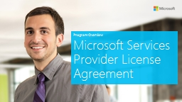 Program Overview Microsoft Services Provider License