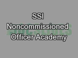 SSI Noncommissioned Officer Academy