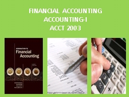 FINANCIAL ACCOUNTING ACCOUNTING-I