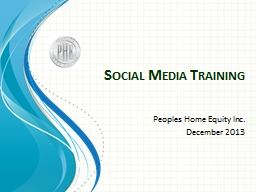 Social Media Training Peoples Home Equity Inc.