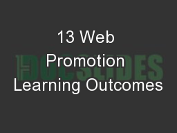 13 Web Promotion Learning Outcomes