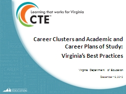Career Clusters and Academic and Career Plans of Study: