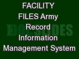 DINING FACILITY FILES Army Record Information Management System