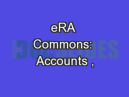 eRA Commons: Accounts ,