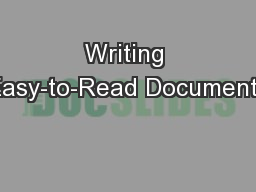 Writing Easy-to-Read Documents