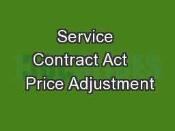 Service Contract Act    Price Adjustment