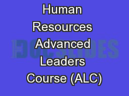 Human Resources Advanced Leaders Course (ALC)